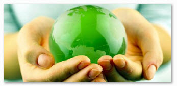 Hands holding a greener globe solar heating